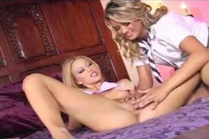 Fiery lesbian babes Cody and Brea masturbating