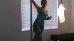 Teen brunette Kari Sweets pole dances