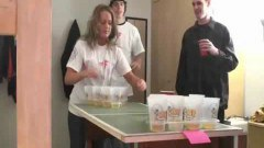 Lovely college girls playing strip pong