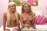 Two hot blonde teens play on webcam