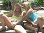 Two blondes exposing in public