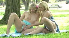 Blonde babes having a pussy picnic