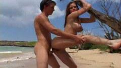 Sweet teen couple on beach sex