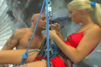Rock blonde climber gets liked