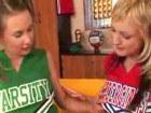 Two blonde schoolgirls in threesome