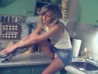 Innocent skinny teen naked in kitchen
