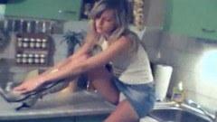 Innocent skinny teen naked in kitchen