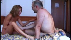 Sweet rehead getting anal from older guy