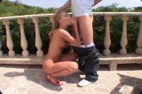 Awesome blonde outdoor sex