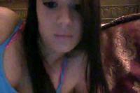 Cute brunette girl masturbates on her webcam