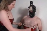 Mistress makes her slave smell shoes