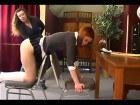 Two sweet schoolgirls getting spanked
