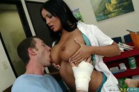A brunette nurse treating an ill men