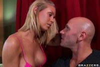 Super hot blonde shows off pink bikini