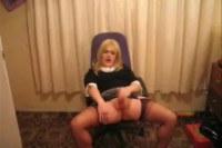A tranny masturbating