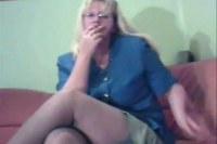 Sexy amateur mature woman smoking