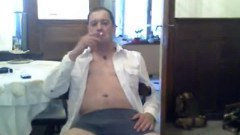 Guy in his underwear smoking