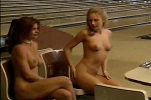 Naked babes playing bowling