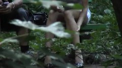 Spycam spot no panties in the woods