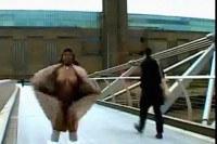 Big black woman walking naked in London