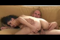Black haired Latina rides cock on top