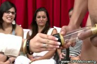 Crazy babes watching a penis pump stimulates cock
