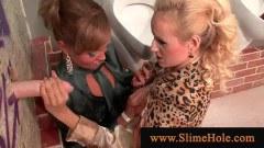 Gloryhole cock sharing babes enjoying a facial