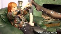 Redhead slut gets messy