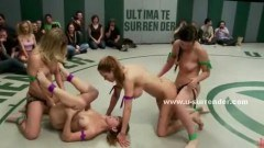 Hot babes in group wretling