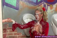 Mature babe in slime action