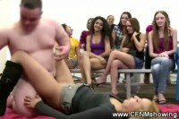 Clothed females watching their friend hammered in sex show