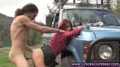 Redhead milf in outdoor action