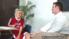 Cute blonde schoolgirl seduces her naughty teacher