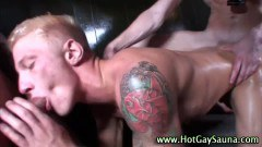 Hot hunks in sauna masturbating with gays
