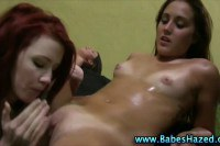 Sweet college beauties pounded by large dildos