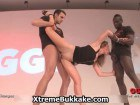 Horny blonde in threesome interracial action