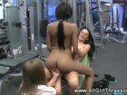 Sexy lesbians in gym action