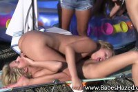 Hot lesbians eating pussy on a roof
