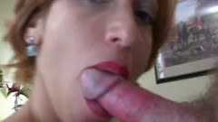 Large boob hot mom gagging a large shaft