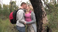 Charming blonde teen pussy eaten outdoors