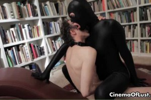 Sensual sex film with a girl in spandex fucking slave