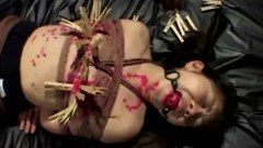 A tied up asian gets waxed