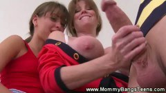 Mom sucks boys balls and teen sucks cock