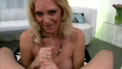Blonde MILF bombshell is giving head