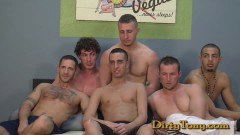 Willing dude enjoys getting surrounded with cocks