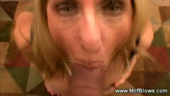 He gives her a mouth full of his hard dick to suck on