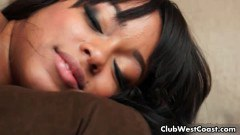 Alluring chocolate babe Tila fucked in doggy