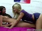 Brunette and blonde lesbians eat their tight pussies