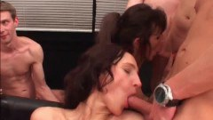Two busty sluts getting it all in this gang bang!
