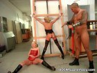 Blonde mother and daugher punished by theif.